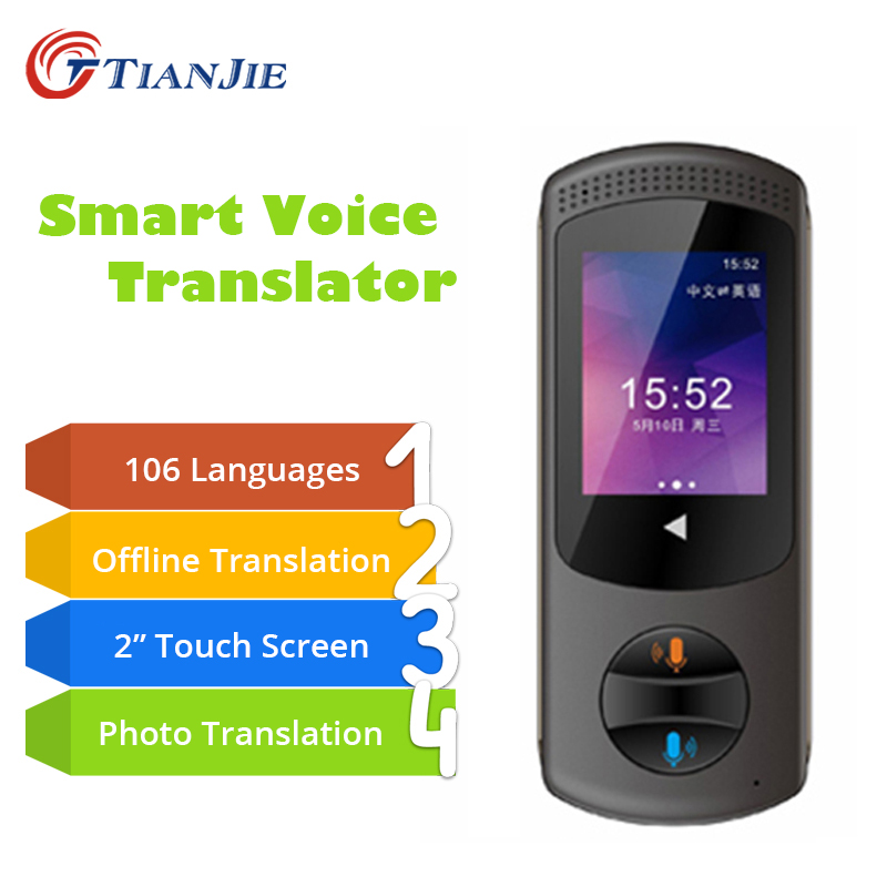 TIANJIE Smart Voice Translator Instant Tranlation Portable 106 Languages Pocket Photo Translator Travel Meeting Traductor