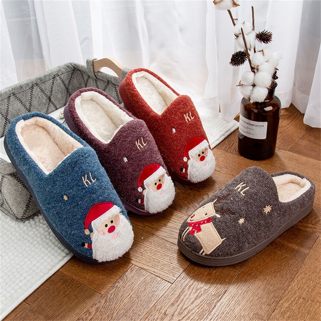 Man Flip Flops Home Slippers Couple Shoes Christmas Platform Flat With Warm Floor Home Cuty Santa Deer Shoes Slippers Pantufa