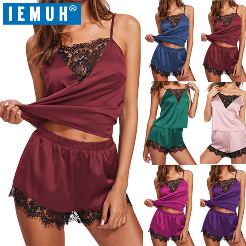IEMUH New Lounge Sleep   Pajama     Set   Sexy Satin Sleepwear Women Summer Pyjama Femme Fashion Flower   Pajamas   for Women