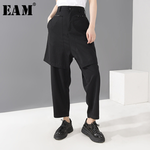 [EAM] High Waist Black Big Pocket Split Long Burr Trousers New Loose Fit Pants Women Fashion Tide Spring Summer 2020 1H29601