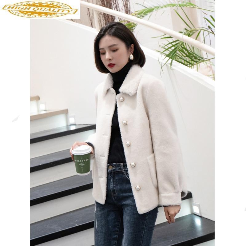 Real Fur Coat Female Sheep Shearling Jacket Winter Coat Women Real Wool Coats Korean Short Jacket Manteau Femme MY4582