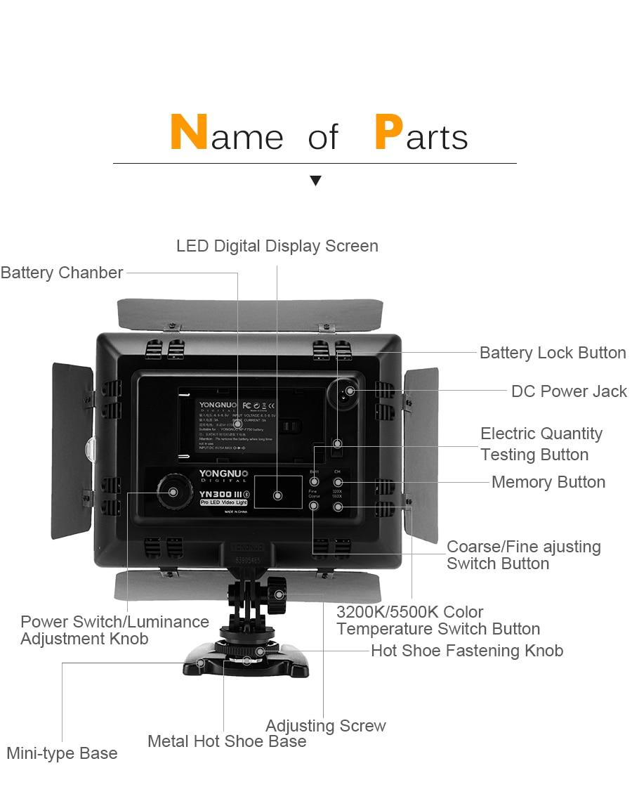 Hb3c7247d6cfb41d6b54dd66f2489c6e9k Yongnuo YN300 III YN300III 3200k-5500K CRI95 Camera Photo LED Video Light Optional with AC Power Adapter + NP770 Battery KIT