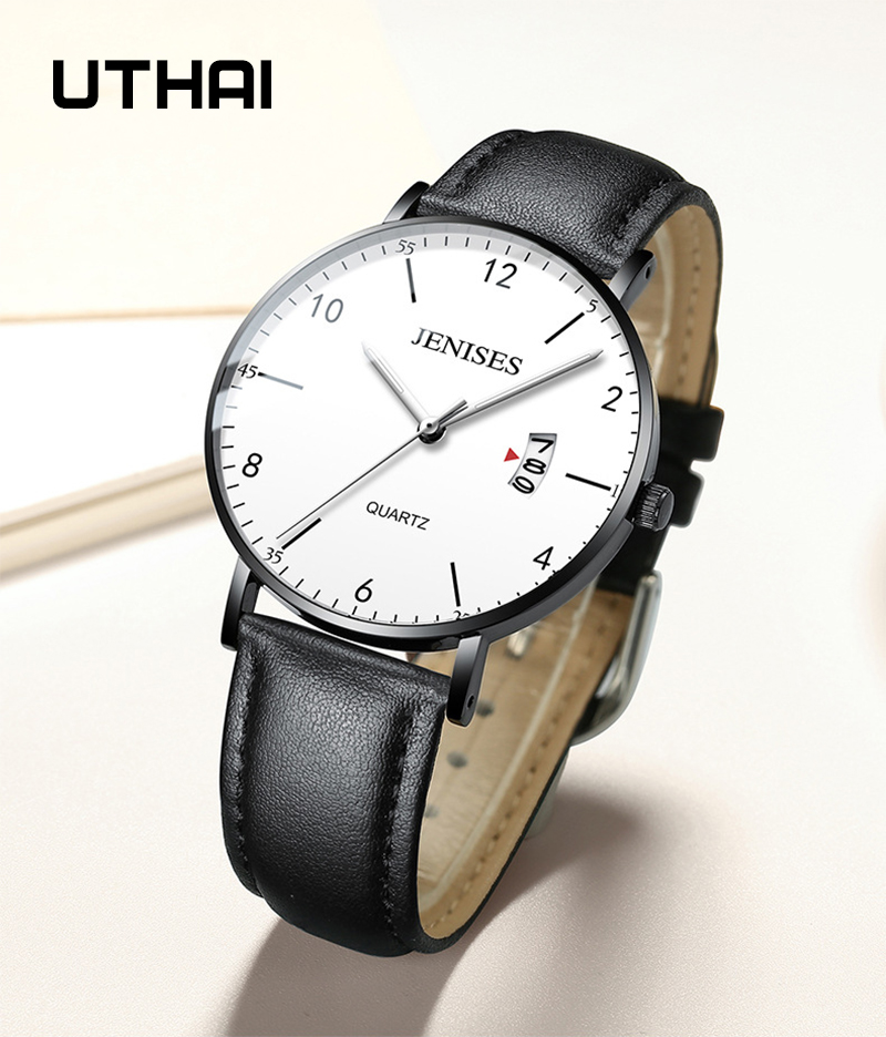 UTHAI H02 Men's Watch Waterproof Luminous Quartz Watch Leather Business Trend watch men
