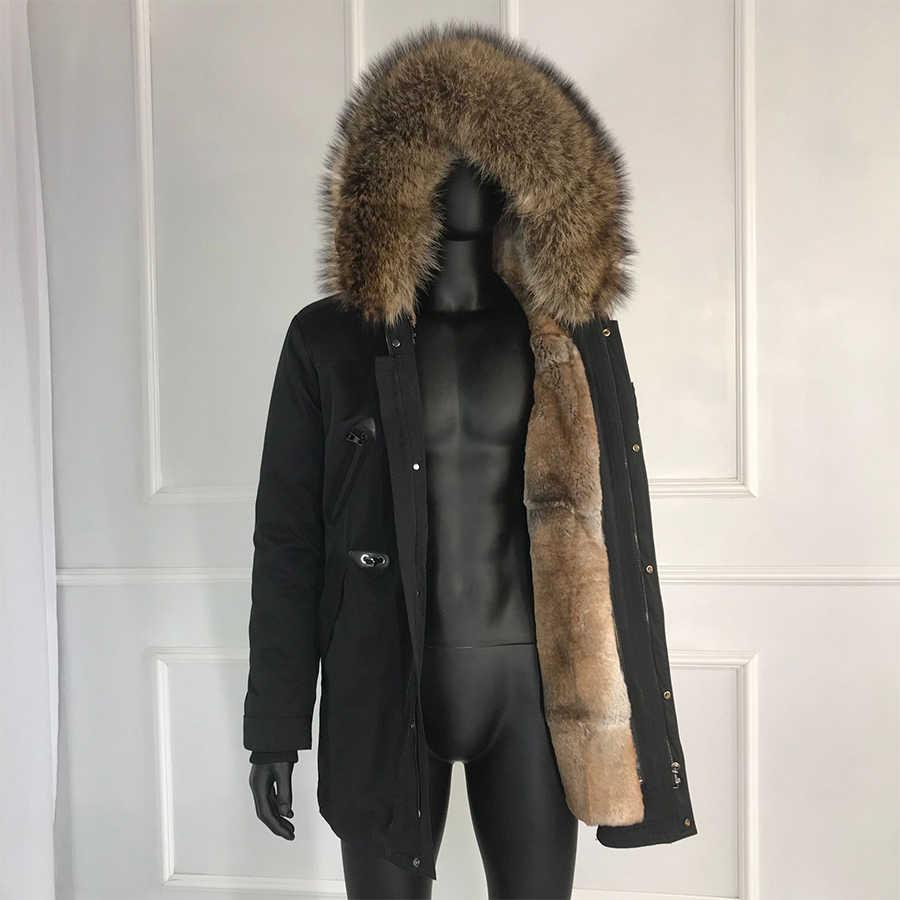 ארנב פרווה מעיל לגבר 2019 חדש חורף חם אופנה אמיתי פרווה מעיילי דביבון פרווה בטנת דביבון פרווה צווארון גברים של parka עם f
