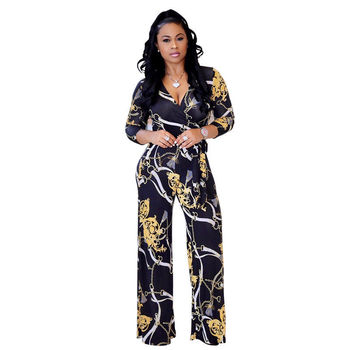 Women V-neck Lace-up Chain Printed Jumpsuit Rompers New Half Sleeve High Waist Jumpsuit Business Style One-piece Wide Leg Pants new lace fly sleeved suspenders wear high waisted pants boot cut lace jumpsuit
