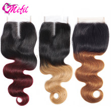 Mifil Brazilian Body Wave Closure 4x4 Ombre Human Hair Closure 20 Inch #T1B/30 T1B/27 Pre-colored Non Remy Hair(China)