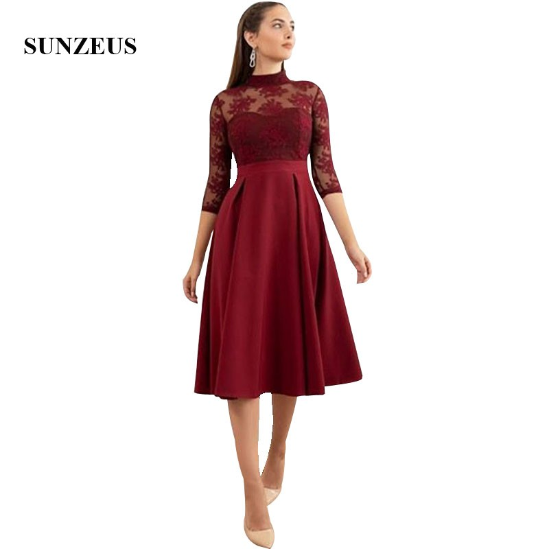 Wine Red <font><b>Tea</b></font> <font><b>Length</b></font> <font><b>Prom</b></font> <font><b>Dresses</b></font> A-line High Neck Three Quarter Sleeves Lace Appliques Party Gowns For Women Formal <font><b>Dress</b></font> Robe image