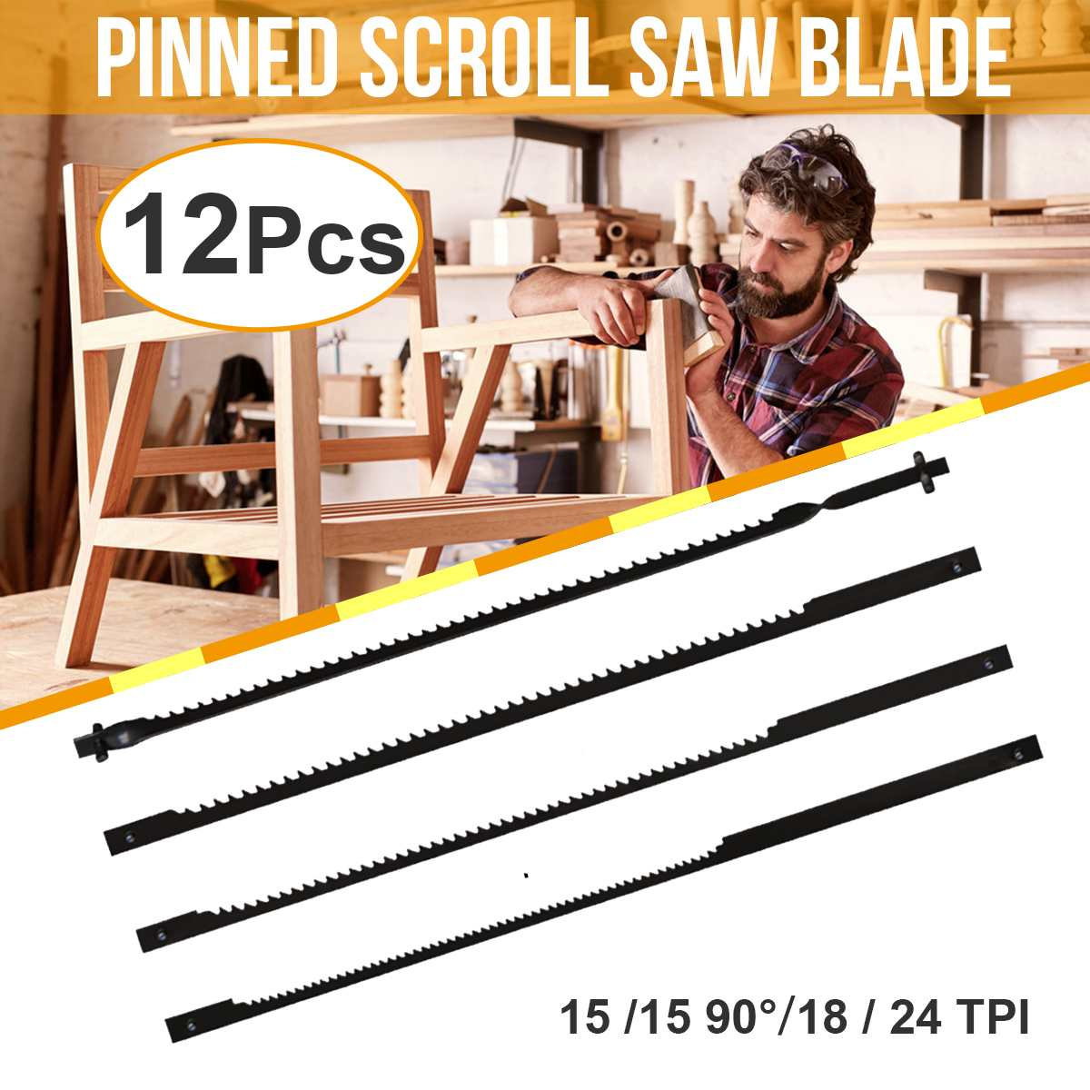 12pcs/set 105mm Pinned Scroll Saw Blades Woodworking Power Tools Accessories