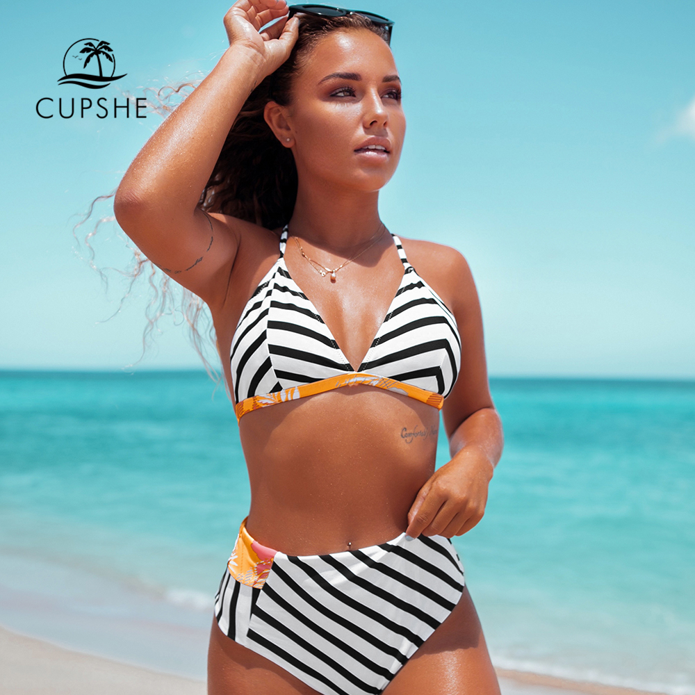 CUPSHE Stripe And Floral High-Waisted Reversible Bikini Set Sexy Swimsuit Two Pieces Swimwear Women 2019 Beach Bathing Suit