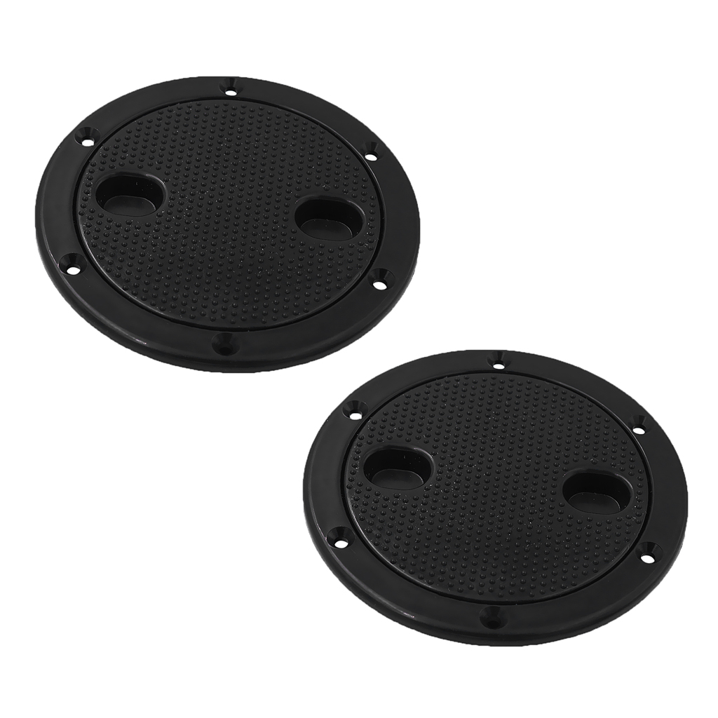 2 Pieces Black Circular Non Slip 4 Inch Inspection Hatch Screw Out Deck Plate For RV Marine Boat Kayak