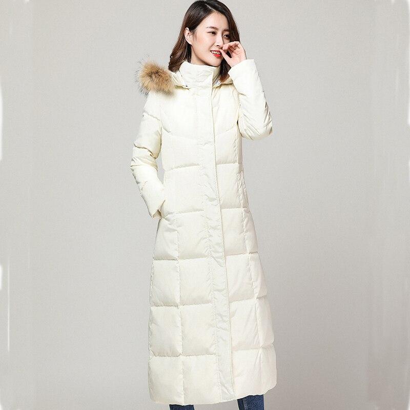 Down Winter White Jacket Women Hooded Large Fur Collar Super Long Coat 2020 Warm Parka Woman Casacas Para Mujer KJ534