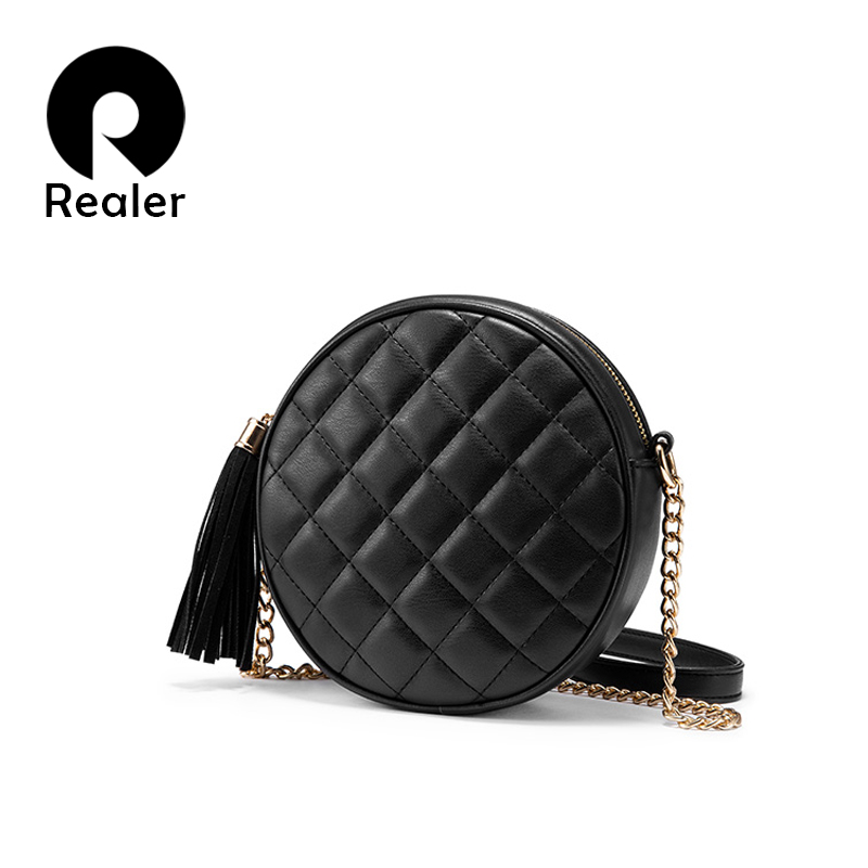 Realer Women Crossbody Bags Shoulder Bag Small Round Bag Funny Female Messenger  For Women 2019 PU Leather Retro Chain Black