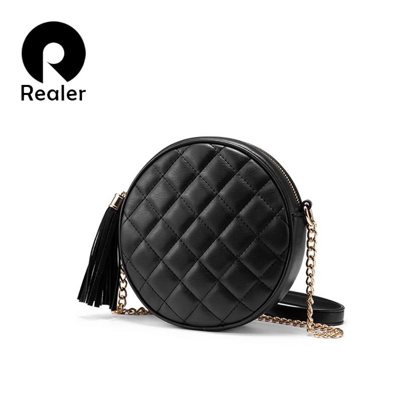Realer Women Crossbody Bags Shoulder Bag Small Round Bag Funny Female Messenger  For Women 2019 PU Leather Retro Chain Black