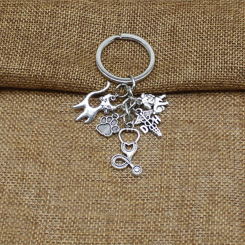 Personality Antique Silver Keychain Veterinary Stethoscope Keychain Animal Dog Cat Nurse Key Chain Veterinary Jewelry Gift