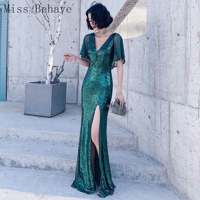 DD JYOY 5 Colors Sequined Evening Dress for Women Sexy Front Split with Half Sleeve Elegant Party Gown Open Back robe soiree