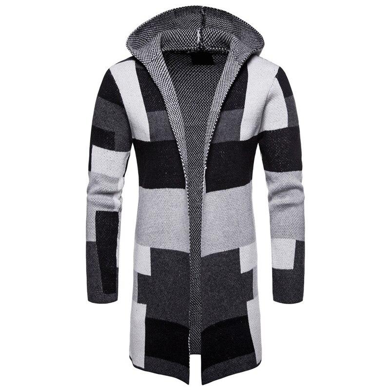 Men Striped Cardigan Coat Sweaters Hooded Cloak Long Windbreaker Cloak Coat Knitted Sweater Big Size 5XL Cardigans Outerwear