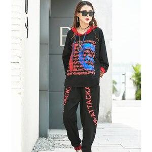 Image 3 - Max LuLu Herbst Mode Koreanische Damen Punk Tops Harem Hosen Club Outfits Frauen Zwei Stück Set Gedruckt Übergroßen Mit Kapuze Trainingsanzüge