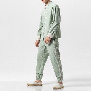 5 Colors Men China Style Cotton Linen 2PCS Suits Sets (shirt+pant) Streetwear Hip Hop Male Long Sleeve Casual Shirt Jacket