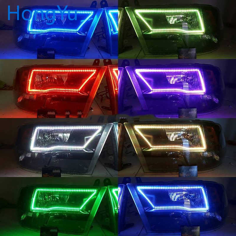 Terbaru Lampu Multi-Warna RGB LED Malaikat Mata Halo Cincin Mata DRL RF Remote Control untuk Dodge Ram 2009 -2016 Aksesoris