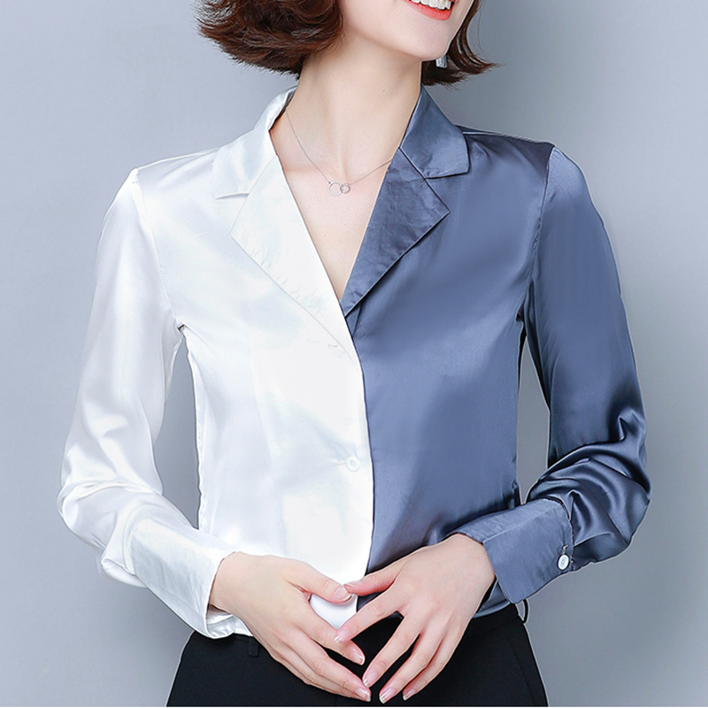Fashion Autumn Silk Shirt Women Satin Blouse Shirts Elegant Woman Patchwork Blouses Shirt Plus Size Blusas Mujer De Moda Blouse