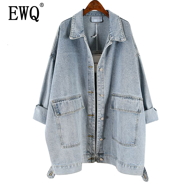 [EWQ] 2020 Spring Autumn New Lapel Long Sleeve Denim Patchwork Single Breasted Pockets Vintage Coat Women Jacket Femals AH25701