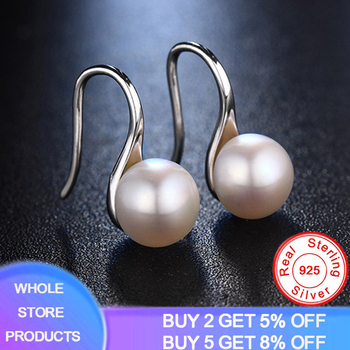 YANHUI New 100% Real Freshwater Pearl Earrings 925 Sterling Silver Dangle Drop Earrings 8mm Natural Pearl Fine Jewelry for Women real 925 sterling silver crystal emerald flower drop earrings white freshwater pearl cz for women fine jewelry