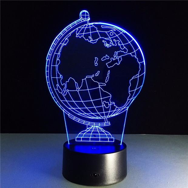 Earth Globe DIY Atmosphere Led Lamp 3D Illusion Creative Decorative Night Lamp Usb Holiday Night Light With 7 Colors Drop Ship image