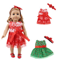American doll dress = + bow headdress for 18 inch 43cm baby accessories, generation, childrens toy gifts