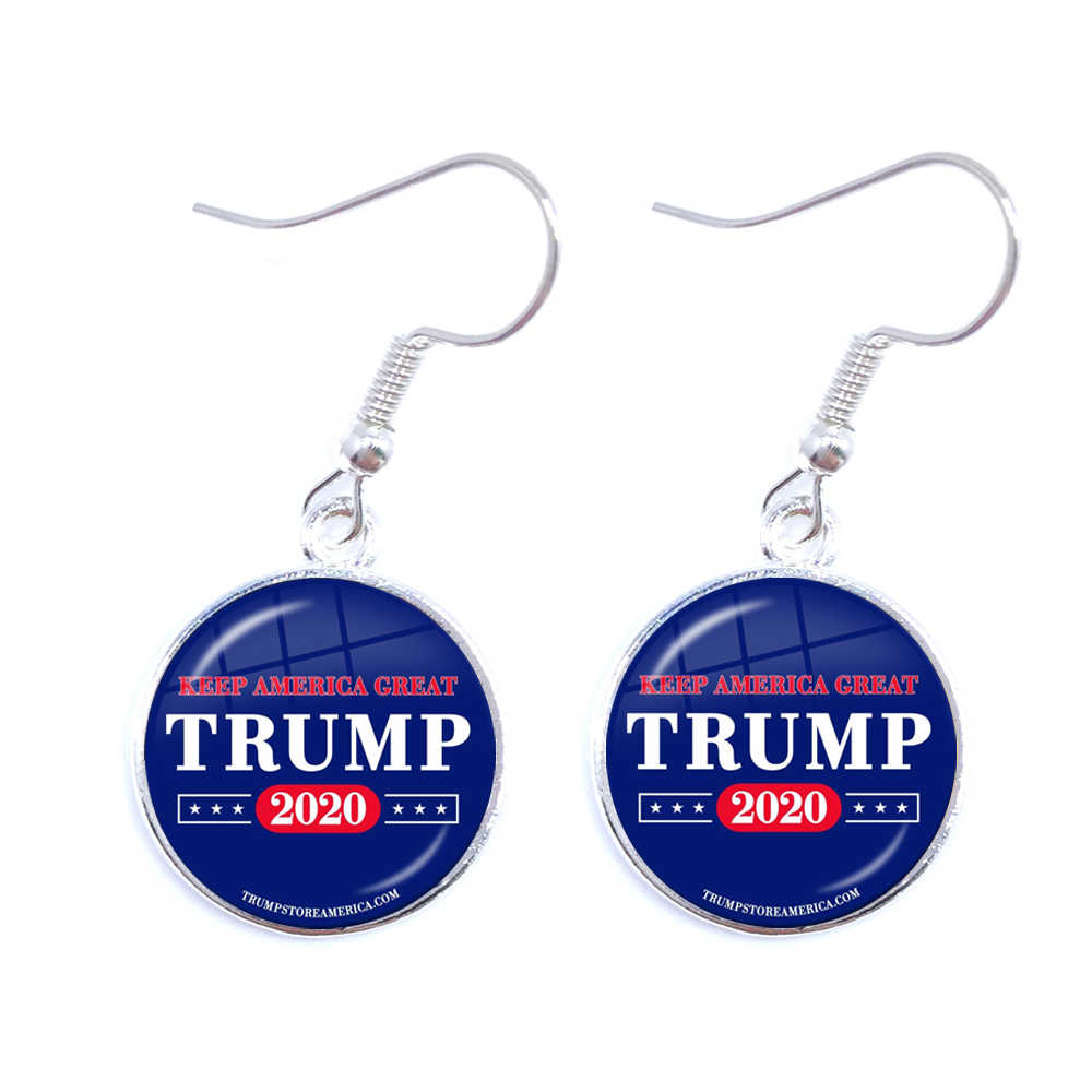 Donald Trump 2020 Collection Election Glass Cabochon Earrings USA Flag Keep America Great Drop Earrings Jewelry For Women Girls