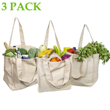 Canvas Grocery Shopping Bags with Bottle Sleeves 100% Organic Cotton Cloth Tote Bags Washable & Eco-friendly Handle Bag