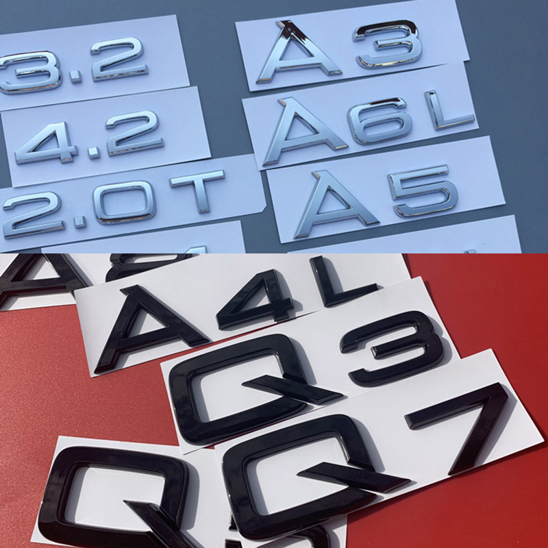 Letter Number Emblem for Audi 1.8T 2.0T 2.4 3.0T 3.2 3.6 4.2 A3 A4 A5 A6L A7 A8L Q3 Q5 Q7 Car Refitting Trunk Badge Logo Sticker image