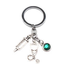 New Design 9 Color Crystal Stone Nurse Medical Box Key Chain Needle Syringe Stethoscope Cute Keychain Jewelry Gift Charm Bag Car