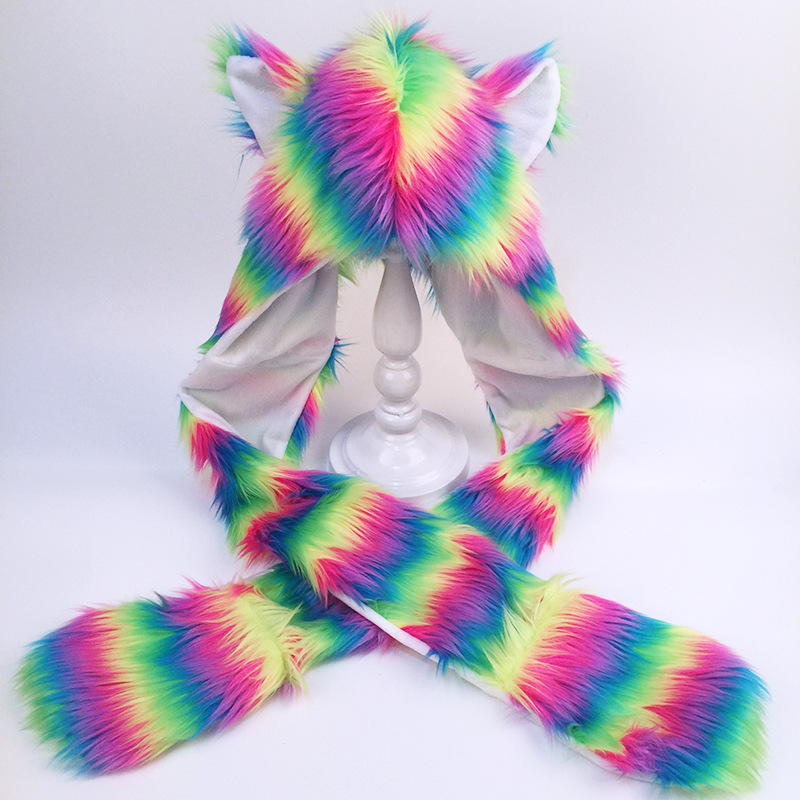 Winter Faux Fur Animal Hat Scarf Hat Gloves All-in-one Dance 5 Color Striped Fox Hair Popular In Europe And The United States
