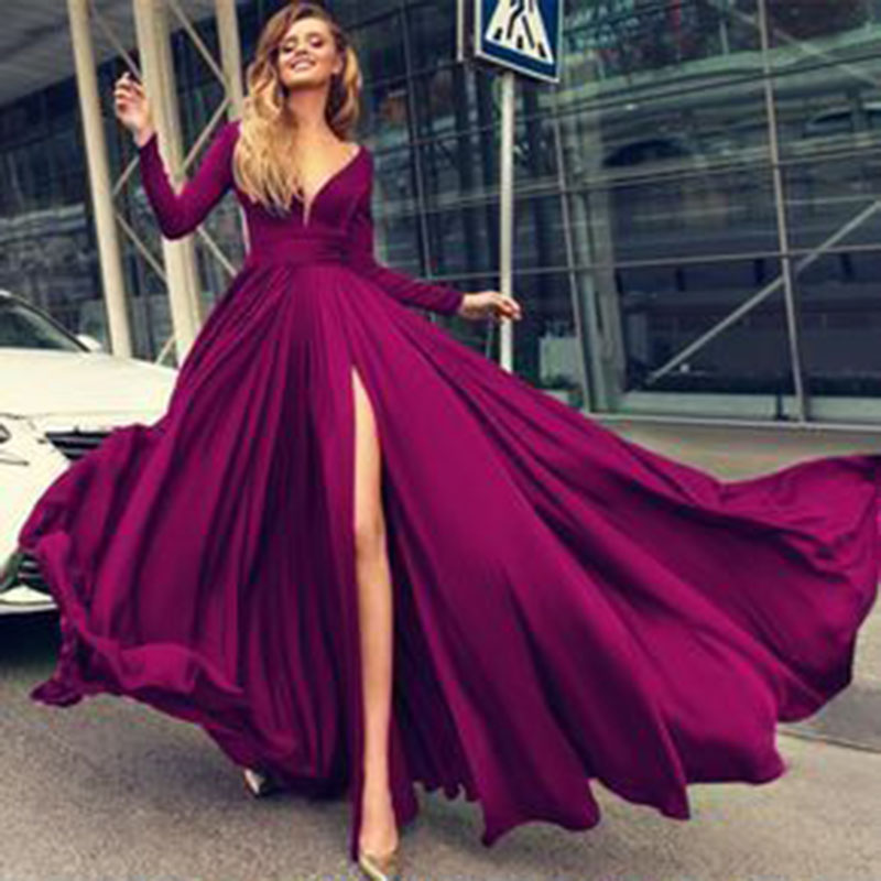 Eightree Sexy Evening Dress Long High Split Chiffon Evening Gowns Robe De Soiree Abendkleider Formal Women Prom Party Dresses