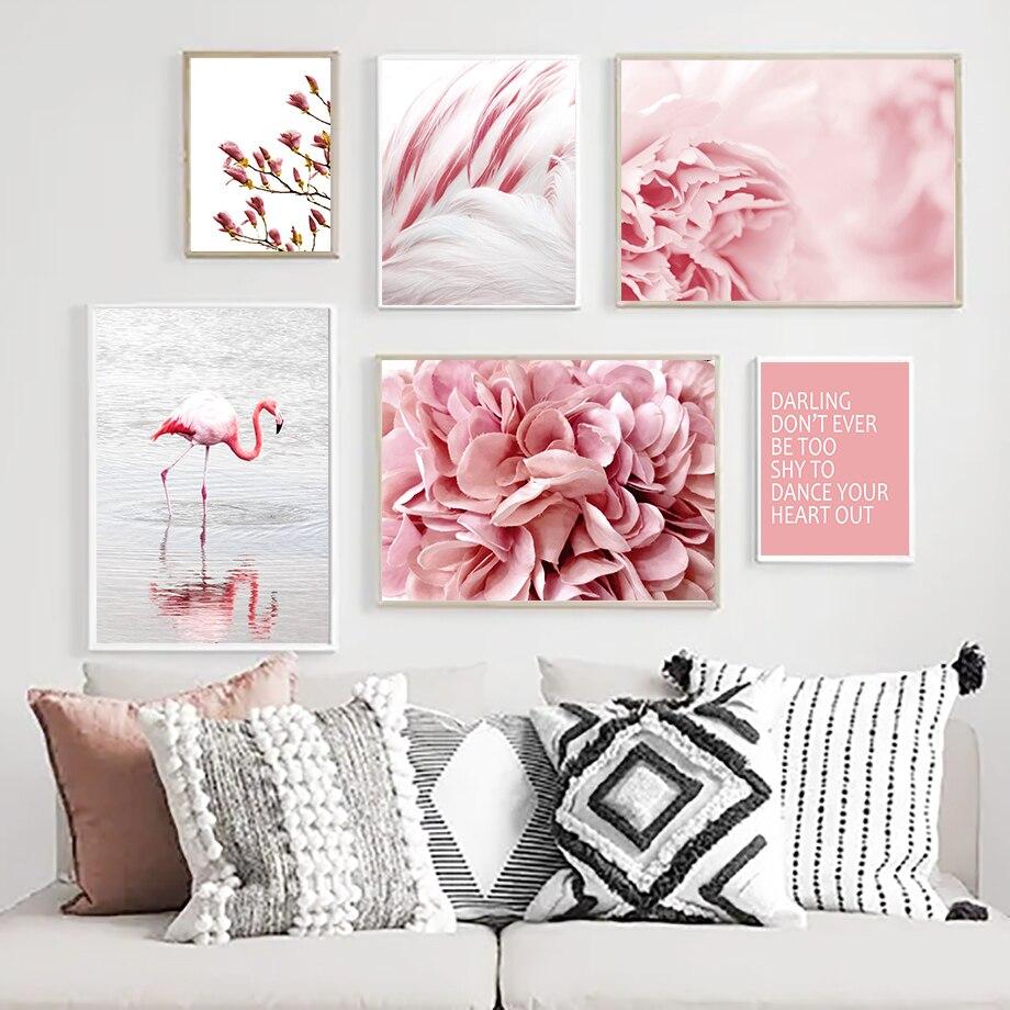 Rosa Blume Feder Meer Flamingo Zitate Wand Kunst Leinwand Malerei Nordic Poster Und Drucke Wand Bilder Für Wohnzimmer Decor