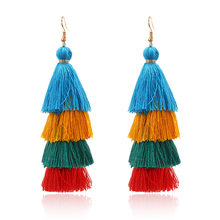 Colorful Tassel Earrings Column Cotton Gradient Bohemian Vintage Ethnic Women's Earrings For Winter Jewelry Accessories 2019 New(China)