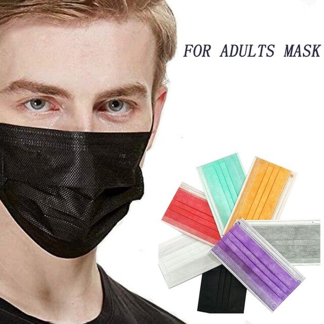 50pcs disposable mask black multiple colour Face Mask 3 Ply Mouth Mask Filter Non-wove Dust Filter Mondmasker Protective Masks