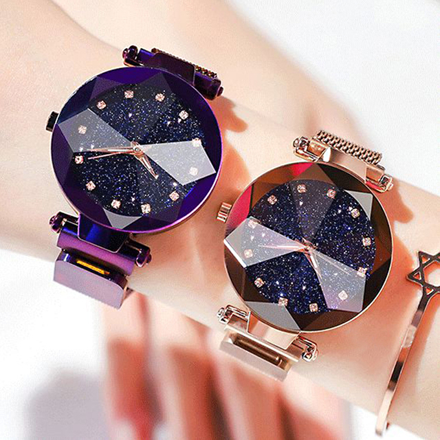 2020 New Ladies Magnetic Starry Sky Clock Luxury Fashion Women Watches Diamond Female Round Analog Casual Quartz Wristwatches 2