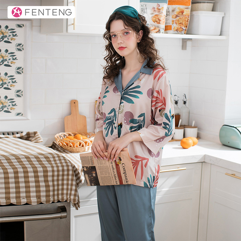 FENTENG Warm Women Three Quaters Sleeves Suit Cotton Pajama Homewear Comfortable Sleepwear Clothing J98111387