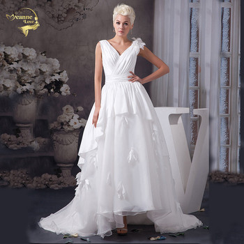 White Vintage Wedding Dresses Plus Size Sweep Train V Neck Flowers Bridal Gowns Vestidos De Novia Baratos Con Envio Gratis JL059