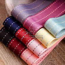 10/100yards 10 16 25 38mm three stitched stripes grosgrain ribbon for children hair bow accessories kids diy handcraft supplies