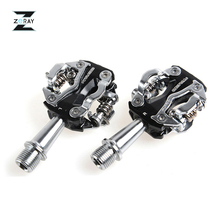 ZERAY MTB Mountain Bike Self locking Pedals Cycling Clipless Pedals Aluminum Alloy SPD CR MO Pedals Bicycle Accessories 2 Colors