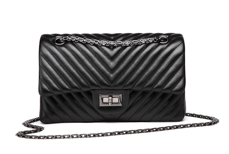 2019 Fashion Quilted Leather Chain Handbag Womens Luxury Shoulder Bags Branded Famous Black Double Flap Crossbody Bag for Women (33)