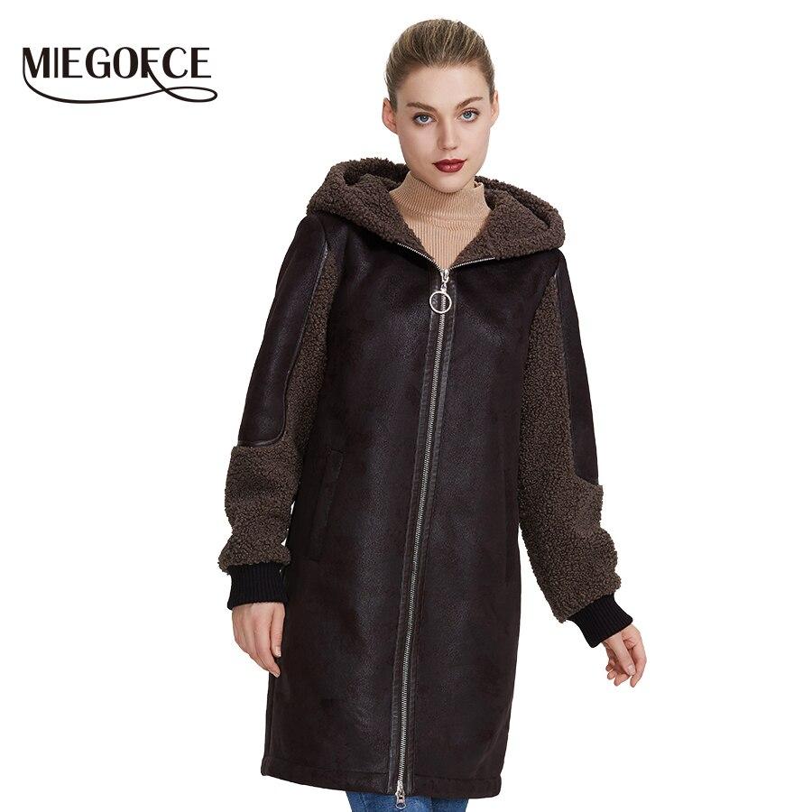 Miegofce 2019 nova coleção feminina inverno casaco de pele do falso senhoras design casaco de pele de carneiro parka na altura do joelho capuz à prova de vento