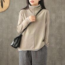 Осенне-зимний вязаный свитер, свободный женский топ из двух частей, водолазка, Ретро стиль, Повседневный свитер, подходит ко всему, новинка, топы