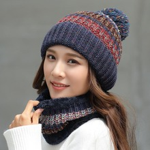 Pompom Knit Hat Ladies Winter Warm Sweet Cute Plus Velvet Thickening Scarf Mask Keep Wool Caps Women Hats Wholesale