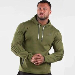Image 1 - Armée vert décontracté sweat à capuche pour homme coton sweat gymnases Fitness entraînement pull printemps mâle vêtements de sport à capuche hauts marque vêtements