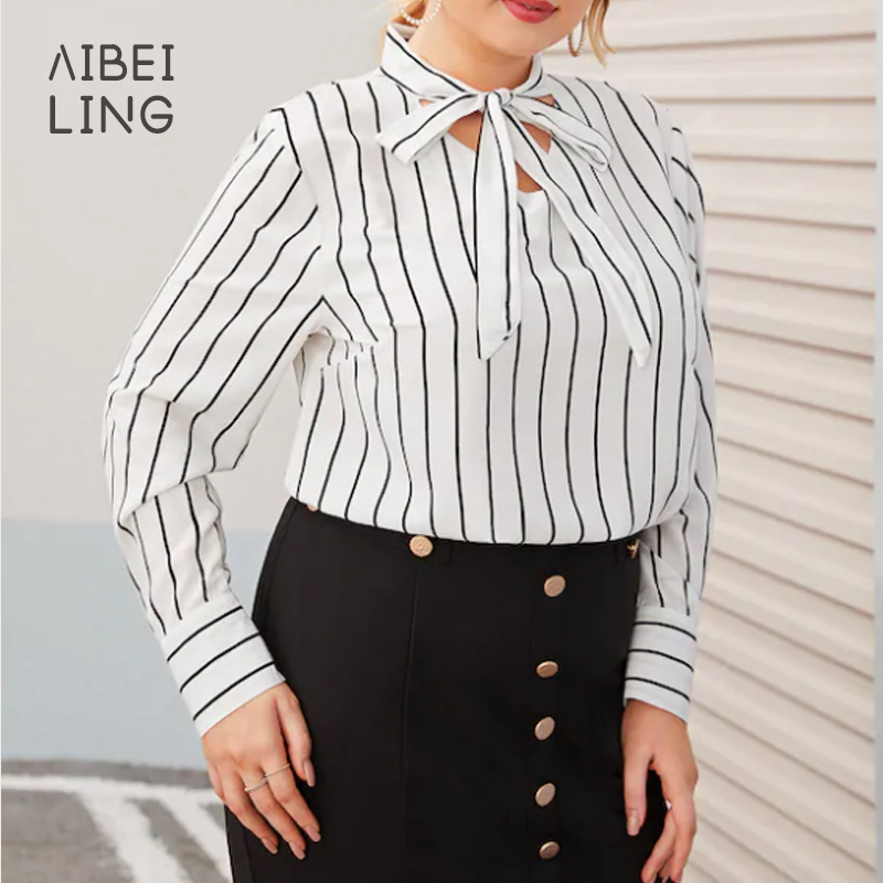 New plus size stripe long sleeve collar Bow Tie Shirt