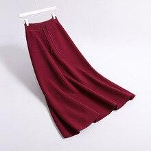 2019 Autumn Women High Waist Knitted Long Skirt Stretch Vintage Women A-Line Thi