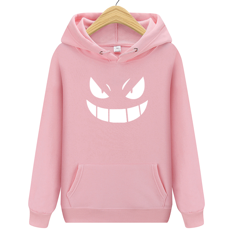 2020 Men's New Arrival Brand Hoodies Luminous Pokemon Go Pocket Monster Gengar Pullover Hoodie Sweatshirts Casual Fitness Hoody